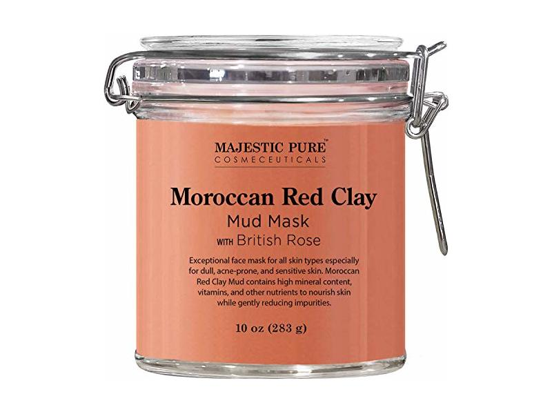 MAJESTIC PURE Moroccan Red Clay Facial Mud Mask with British Rose, 10 oz