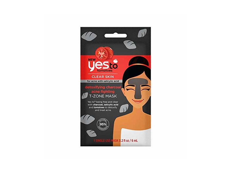 Yes To Tomatoes Detoxifying Charcoal Acne Fighting T-Zone Mask, 1 count