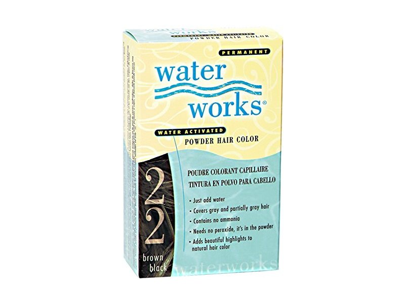 Water Works Water Activated Permanent Powder Hair Color for Men and Women, 22 Brown Black, 1 application