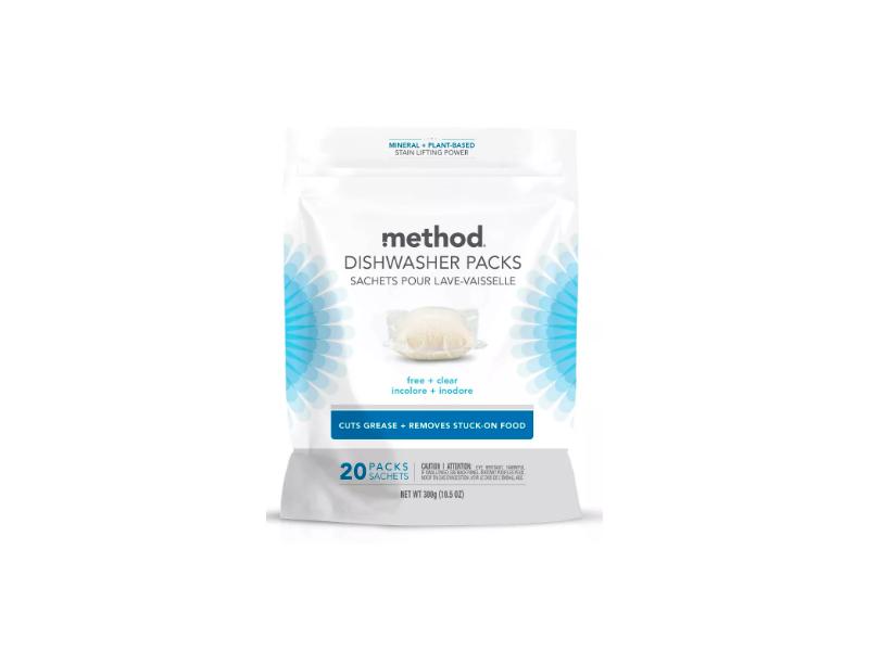 Method Dishwasher Packs, Free + Clear, 20 Packs, Pack Of 6