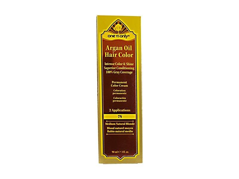 One 'n Only Argan Oil Hair Color, 7N Medium Natural Blonde, 3 fl oz/90 ml