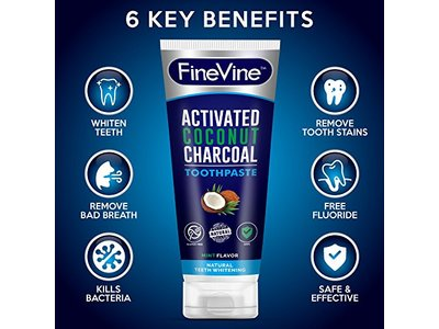 Fine Vine Activated Coconut Charcoal Toothpaste, Mint, 4 oz - Image 7
