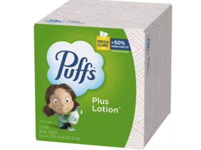 Puffs Plus Mega Facial Tissue, 72 Count