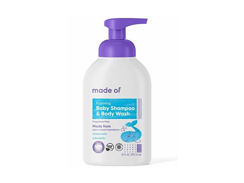 Made Of Foaming Baby Shampoo & Body Wash, Fragrance Free, 10 fl oz