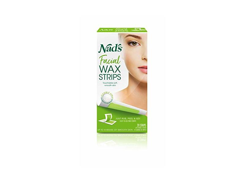 Nad's Facial Wax Strips + 4 Calming Oil Wipes