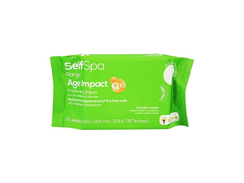 Self Spa Range Age Impact Q10 Freshening Wipes, 25 ct