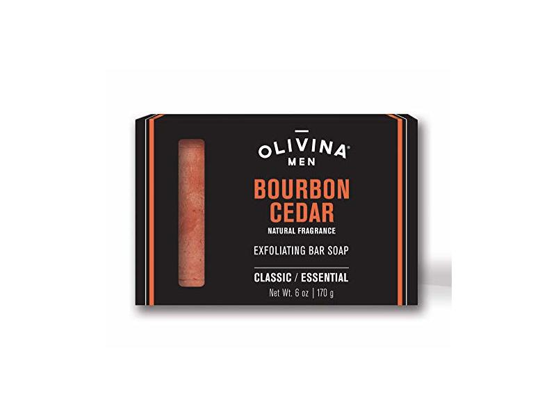 Olivina Men Exfoliating Bar Soap, Bourbon Cedar, 6-Ounce