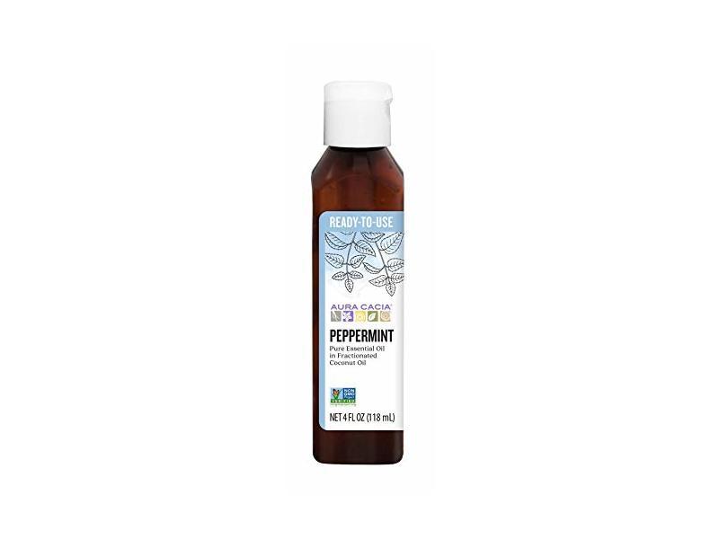 Aura Cacia Peppermint Essential Oil In Fractionated Coconut Oil, 4 fl oz / 118 mL