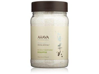 AHAVA Dead Sea Salt Mineral Bath Salt, Muscle Soothing Eucalyptus, 32 oz