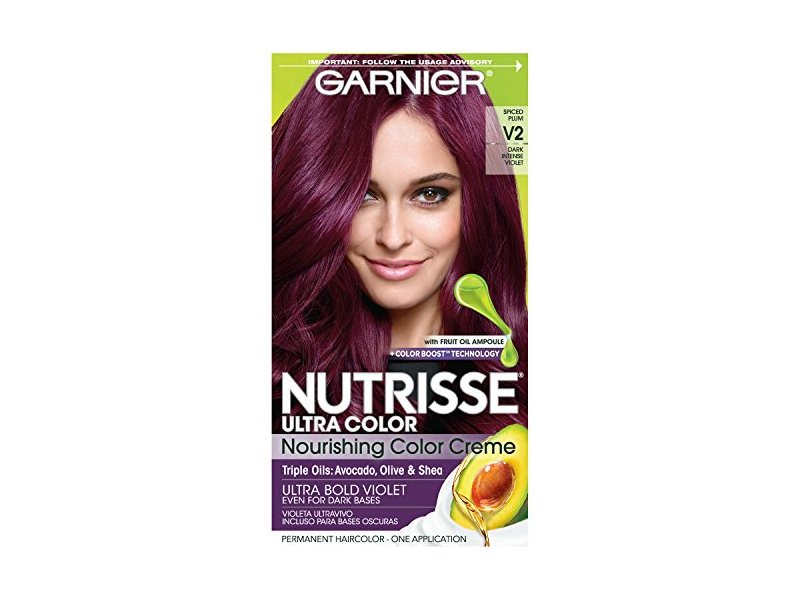 Garnier Nutrisse Ultra Color Nourishing Hair Color Creme, V2 Spiced Plum Dark Intense Violet