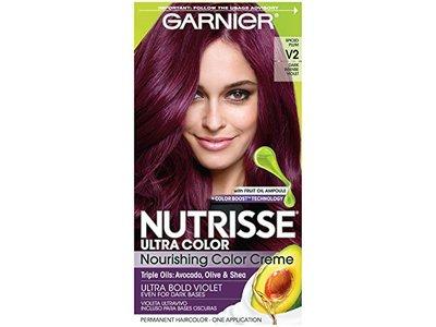 Garnier Nutrisse Ultra Color Nourishing Hair Color Creme, V2 Spiced Plum Dark Intense Violet