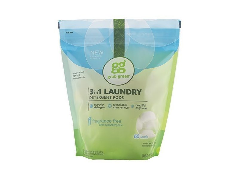 Grab Green 3 in 1 Laundry Detergent Pods, 2.4 lb, 60 loads