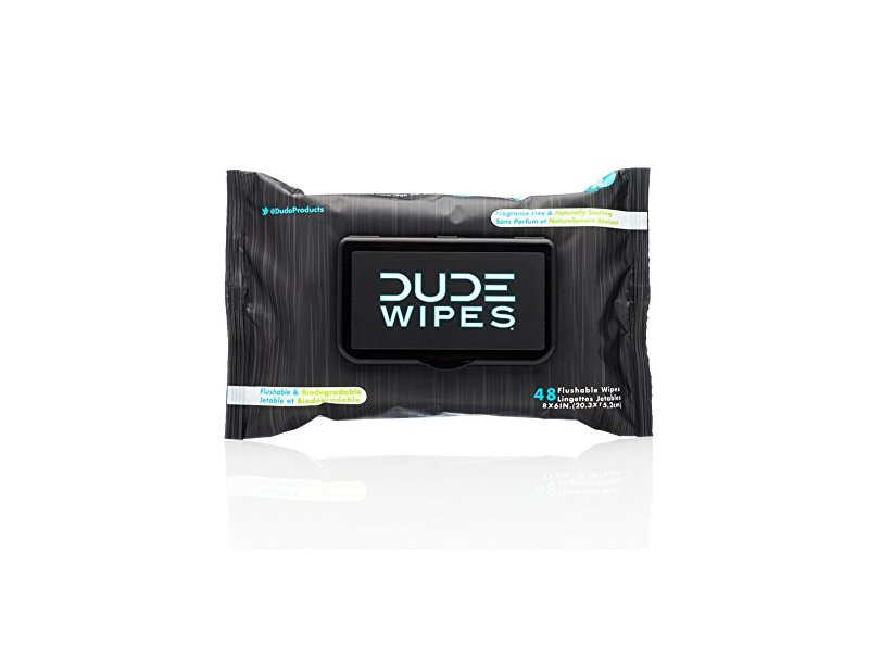 Dude Products Flushable Wipes, Fragrance Free & Naturally Soothing, 48 Count