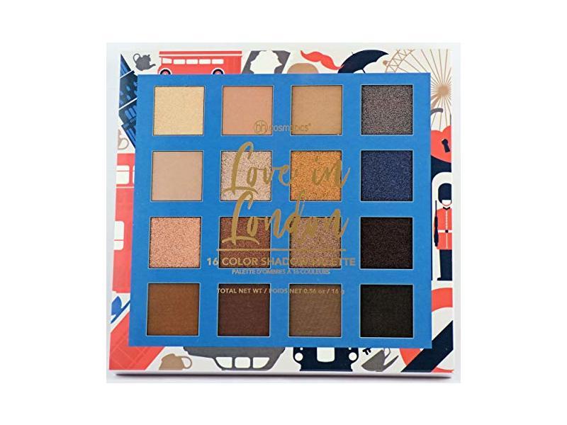 BH Cosmetics 16 Color Eyeshadow Palette, Love in London, 0.56 oz