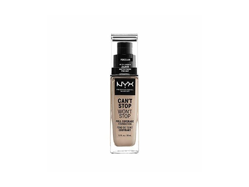 Nyx Professional Makeup Can't Stop Won't Stop Full Coverage Foundation, Porcelain, 1 Fluid Ounce