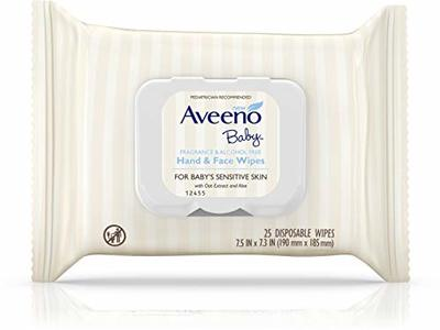 Aveeno Baby Hand & Face Baby Wipes, Oat Extract, 25 ct - Image 1