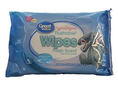 Great Value Hypoallergenic Flushable Wipes, Fresh Scent, 42 ct
