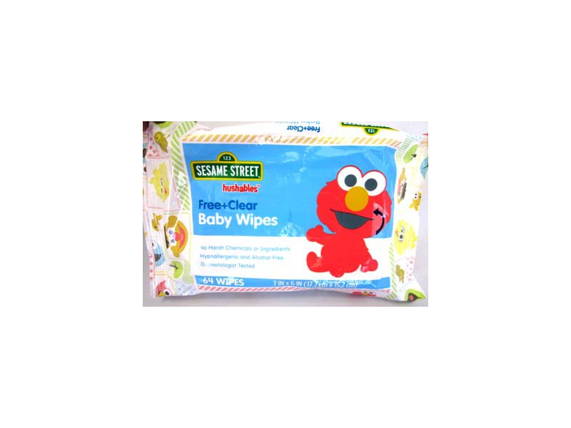 Hushables Sesame Street Free and Clear Baby Wipes, 64 ct