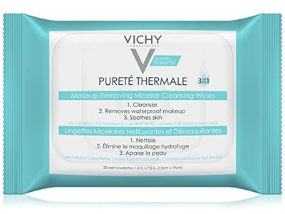 Vichy Pureté Thermale Micellar Makeup Remover Wipes, 25 Count - Image 1