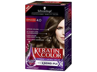 Schwarzkopf Keratin Color Anti-Age Hair Color Cream, 4.0 Cappuccino
