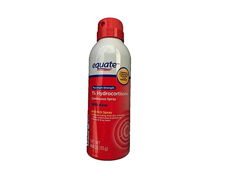 Equate Maximum Strength 1% Hydrocortisone With Aloe, Continuous Spray, 4.0 oz