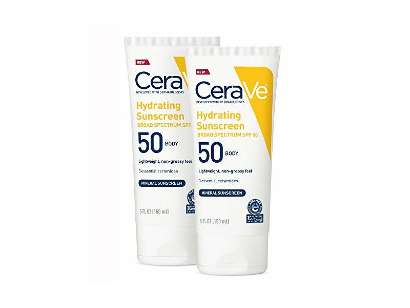 CeraVe Hydrating Mineral Sunscreen, SPF50 Body, 5 fl oz