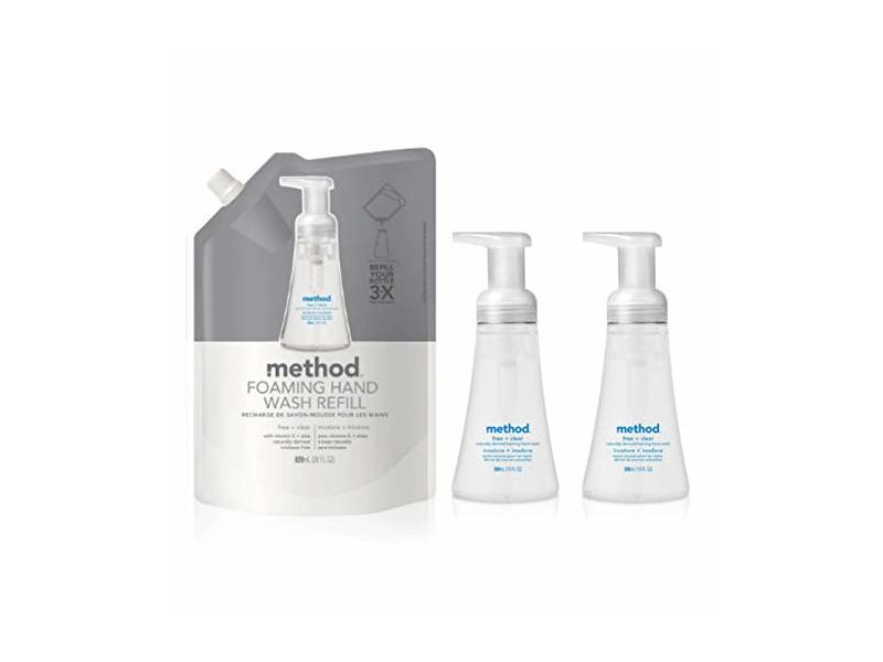 Method Foaming Hand Wash, Free+Clear, 1 Refill Pouch with 2 Dispensers, 10 fl oz each