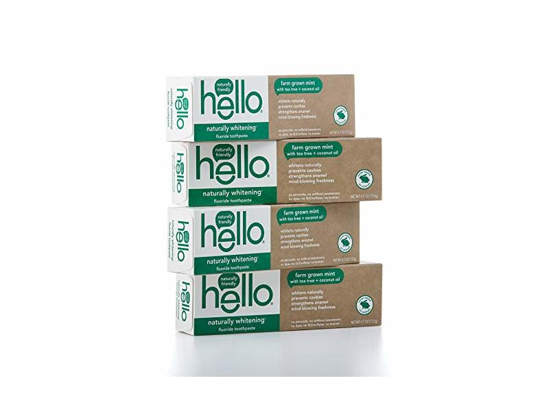 Hello Oral Care Naturally Whitening Fluoride Toothpaste, Farm Grown Mint with Tea Tree Oil & Coconut Oil, 4 Count