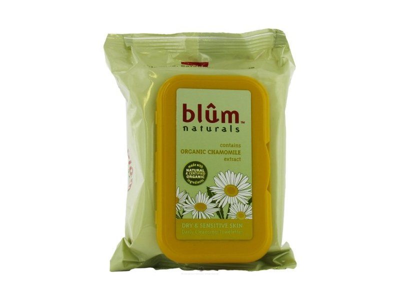 Blum Naturals Daily Cleansing & Makeup Remover Towelettes, Dry & Sensitive Skin, 30 towelettes,
