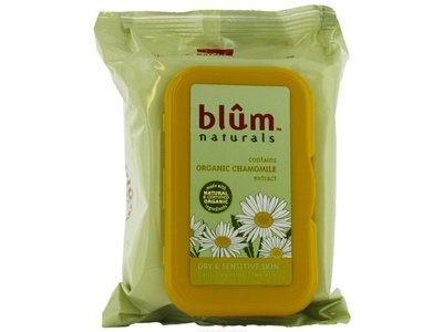 Blum Naturals Daily Cleansing & Makeup Remover Towelettes, Dry & Sensitive Skin, 30 towelettes, - Image 1