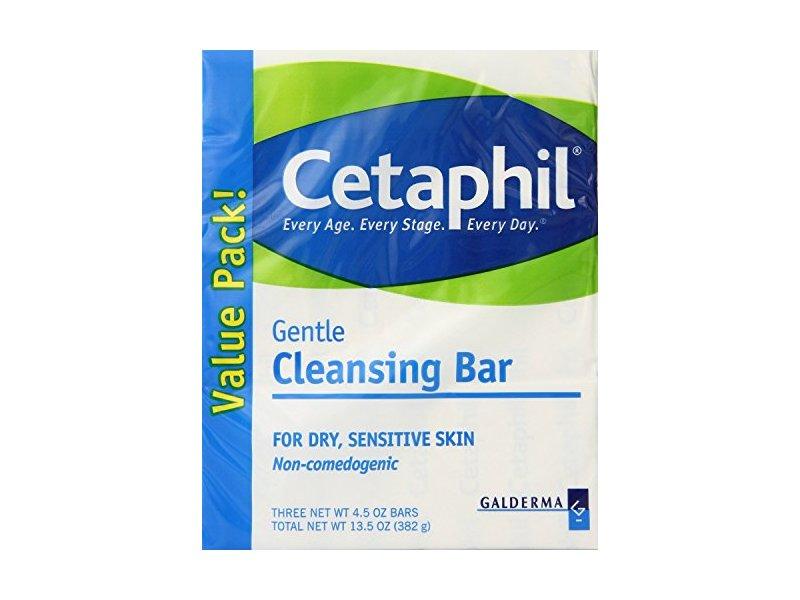 Cetaphil Gentle Cleansing Bar for dry, sensitive Skin, 4.5 oz (3 Count)