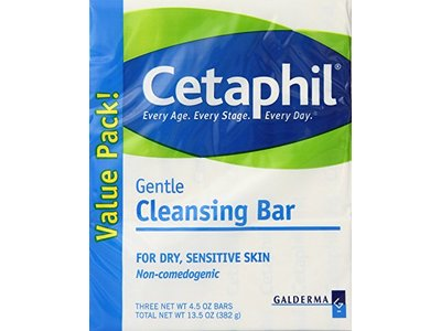 Cetaphil Gentle Cleansing Bar for dry, sensitive Skin, 4.5 oz (3 Count)