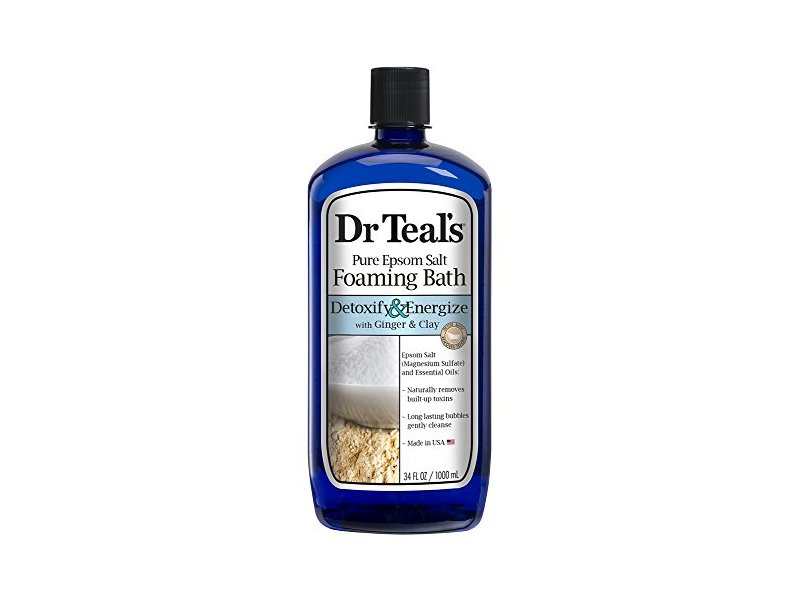 Dr Teal's Pure Epsom Salt Foaming Bath, Detoxify & Energize with Ginger & Clay, 34 fl oz