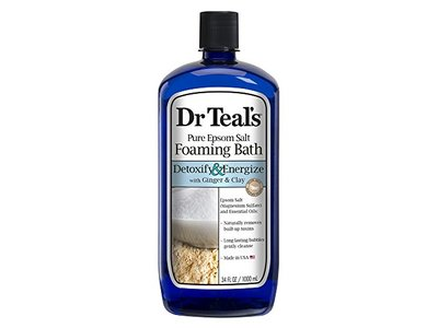 Dr Teal's Pure Epsom Salt Foaming Bath, Detoxify & Energize with Ginger & Clay, 34 fl oz