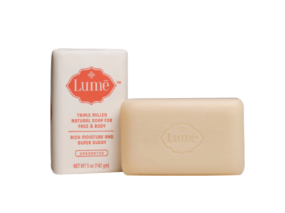 Lume Triple Milled Natural Soap for Face & Body, Unscented, 5 oz (142 gm)