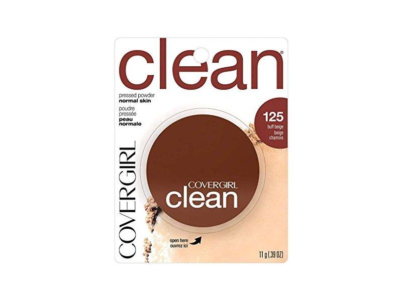 CoverGirl Clean Pressed Powder Compact, Buff Beige 125, 0.39 oz