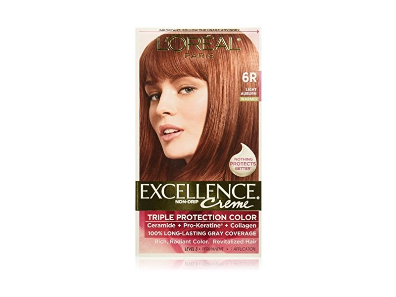 L'Oreal Excellence Triple Protection Color Creme, Light Auburn/Warmer 6R (Pack of 3)