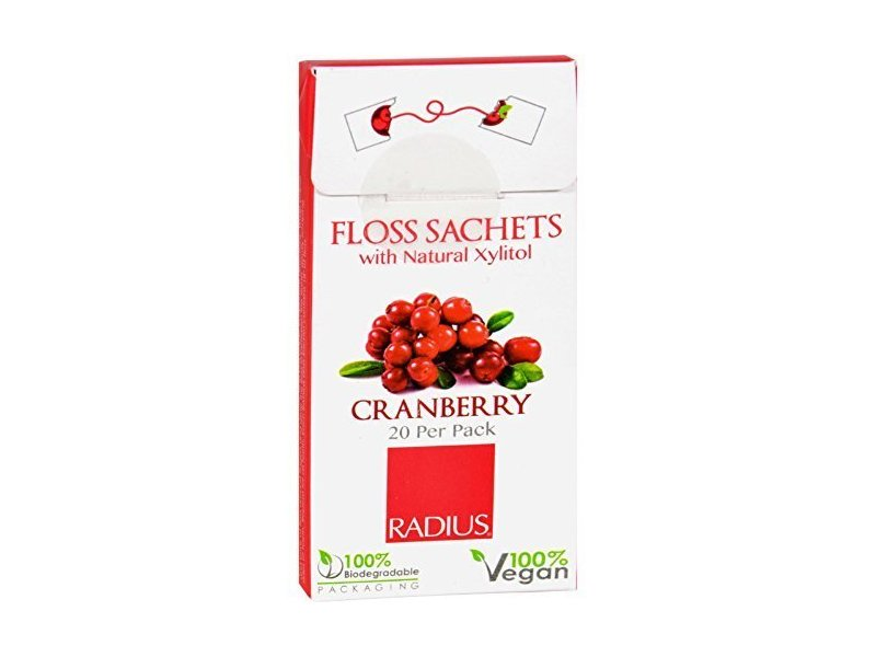 Radius Floss Sachet with Natural Xylitol, Cranberry, 20 per pack