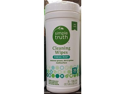 Simple Truth Cleaning Wipes, Fresh Mint, 35 Ct