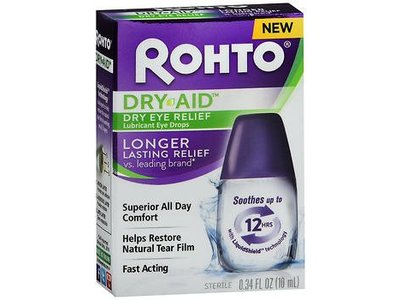 Rohto Dry-Aid Dry Eye Relief Lubricant Eye Drops, Longer Lasting Relief, 0.34 fl oz
