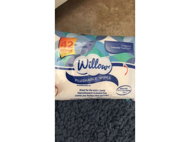 Willow Flushable Wipes, 42 ct