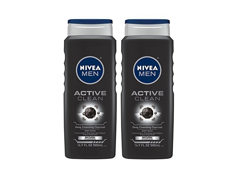 Nivea For Men Body Wash Active Clean Deep Cleansing Charcoal, 16.9 FL OZ