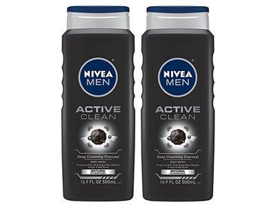 Nivea For Men Body Wash Active Clean Deep Cleansing Charcoal, 16.9 FL OZ