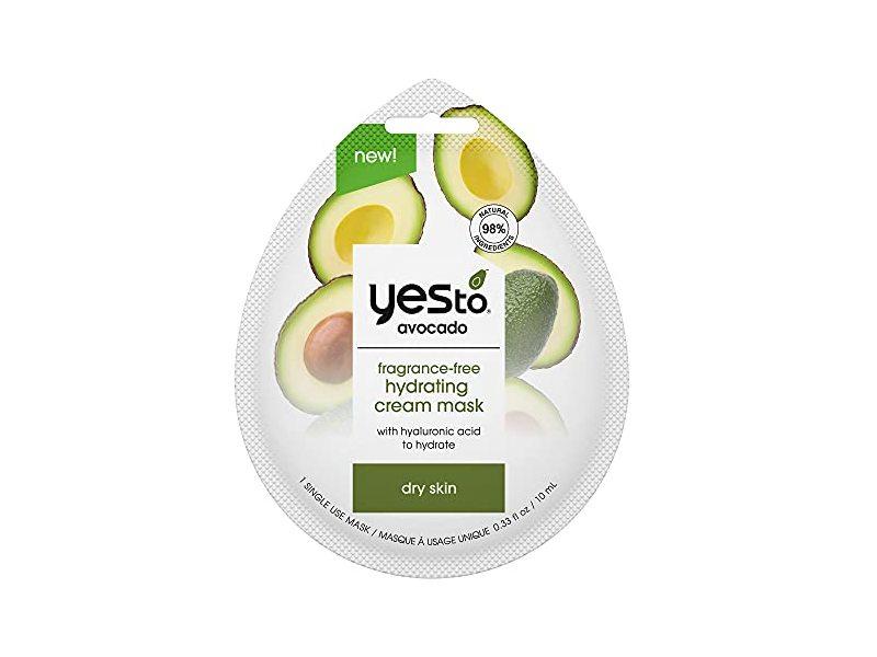 Yes To Avocado Fragrance-Free Hydrating Cream Mask, Dry Skin, 0.33 fl oz/10 mL