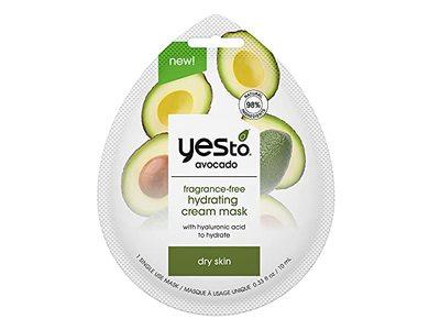 Yes To Avocado Fragrance-Free Hydrating Cream Mask, Dry Skin, 0.33 fl oz/10 mL, 1 Ct