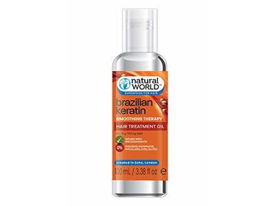Organic World Natural World Brazilian Keratin Smoothing Therapy Hair Treatment Oil, 3.38 fl oz
