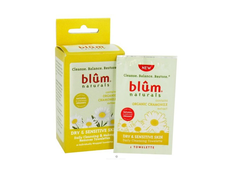 Blum Naturals Dry and Sensitive Skin Daily Cleansing and Makeup Remover Towelettes, 10 Towelettes