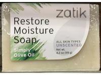 Zatik Restore Moisture Soap, Simply Olive Oil, Unscented, 4.2 oz/119 g - Image 3