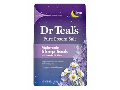Dr Teal's Pure Epsom Salt, Melatonin Sleep Soak with Essential Oil Blend Teal's, 3 Lbs