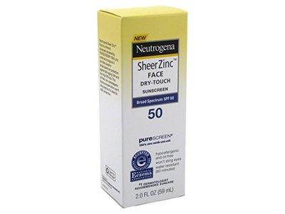 Neutrogena Sheer Zinc Face Dry Touch Sunscreen, SPF50 , 2.0 fl oz (59 mL) (3 Pack)